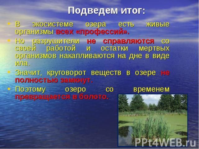 Подведем итог:В экосистеме озера есть живые организмы всех «профессий». Но разрушители не справляются со своей работой и остатки мертвых организмов накапливаются на дне в виде ила.Значит, круговорот веществ в озере не полностью замкнут.Поэтому озеро…