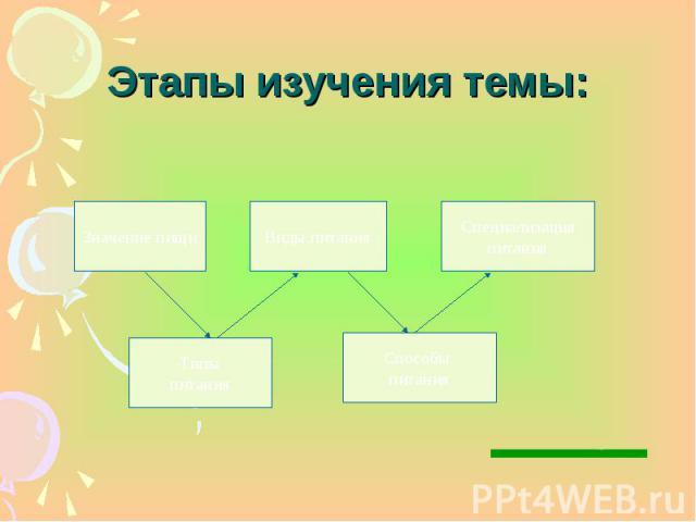 Этапы изучения темы: