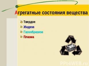Агрегатные состояния вещества ТвердоеЖидкоеГазообразноеПлазма