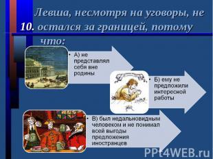 Левша, несмотря на уговоры, не 10. остался за границей, потому что: