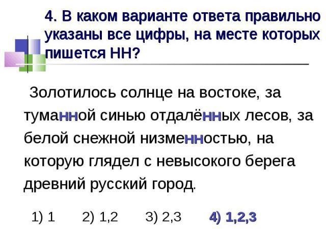 4. В каком варианте ответа правильно указаны все цифры, на месте которых пишется НН? Золотилось солнце на востоке, за туманной синью отдалённых лесов, за белой снежной низменностью, на которую глядел с невысокого берега древний русский город. 1) 1 2…