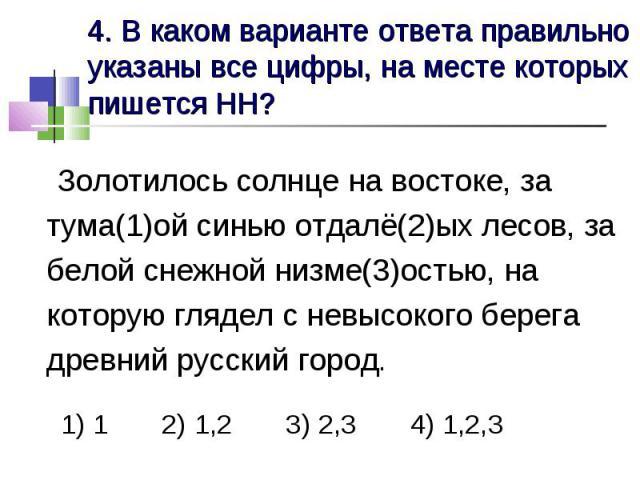 4. В каком варианте ответа правильно указаны все цифры, на месте которых пишется НН? Золотилось солнце на востоке, за тума(1)ой синью отдалё(2)ых лесов, за белой снежной низме(3)остью, на которую глядел с невысокого берега древний русский город. 1) …