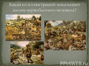 Какая из иллюстраций показывает жизнь первобытного человека?