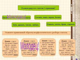 В каком ряду все глаголы I спряжения?Укажите правильный образец морфологического
