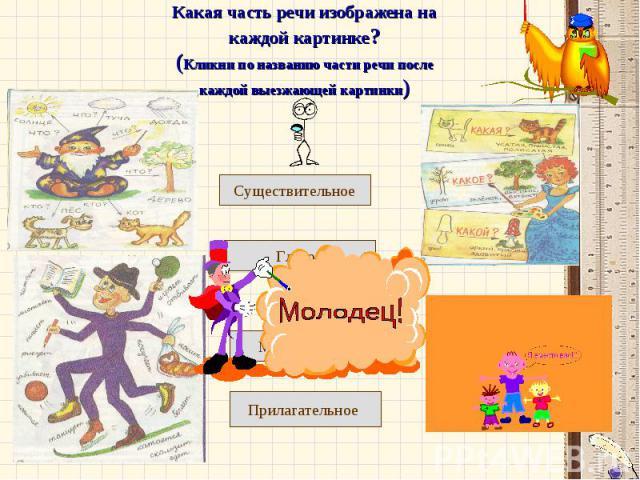 Какая часть речи изображена на каждой картинке?(Кликни по названию части речи после каждой выезжающей картинки)