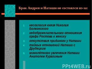 Брак Андрея и Наташи не состоялся из-за:несогласия князя Николая Болконскогонедо