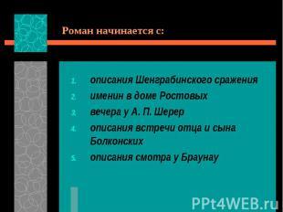 Роман начинается с:описания Шенграбинского сраженияименин в доме Ростовыхвечера