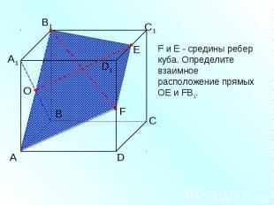 F и Е - средины ребер куба. Определите взаимное расположение прямых ОЕ и FВ1.