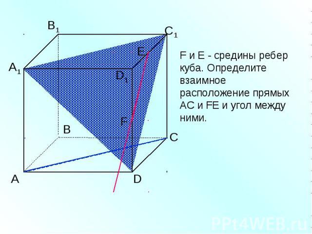 F и Е - средины ребер куба. Определите взаимное расположение прямых АС и FЕ и угол между ними.