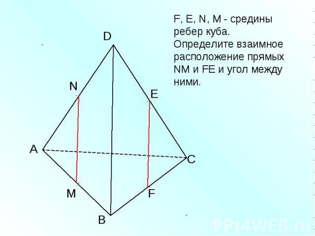 F, Е, N, M - средины ребер куба. Определите взаимное расположение прямых NM и FЕ и угол между ними.