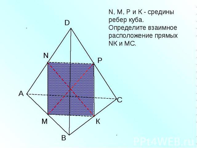 N, M, Р и К - средины ребер куба. Определите взаимное расположение прямых NК и МС.