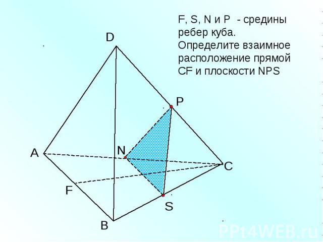 F, S, N и Р - средины ребер куба. Определите взаимное расположение прямой CF и плоскости NPS