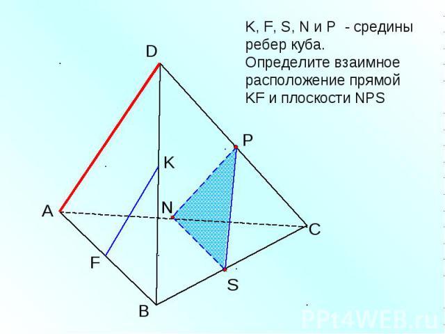 K, F, S, N и Р - средины ребер куба. Определите взаимное расположение прямой KF и плоскости NPS