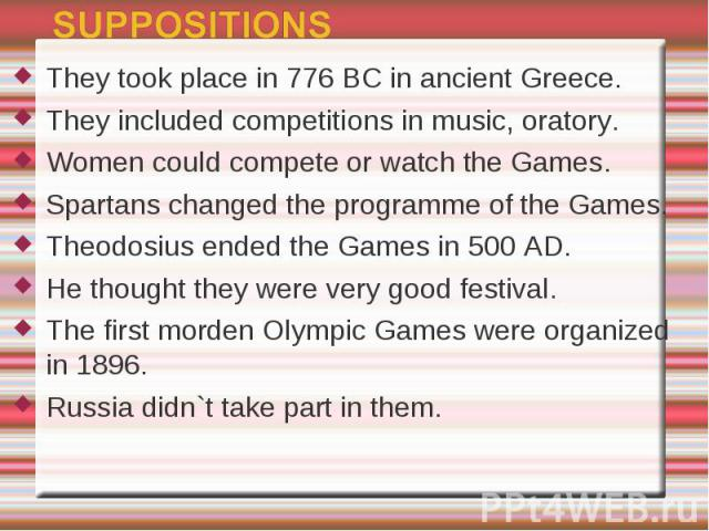 They took place in 776 BC in ancient Greece.They included competitions in music, oratory.Women could compete or watch the Games.Spartans changed the programme of the Games.Theodosius ended the Games in 500 AD.He thought they were very good festival.…
