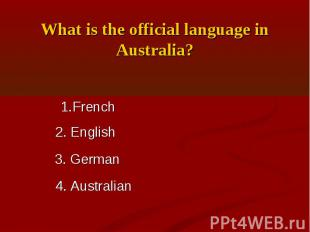 What is the official language in Australia?