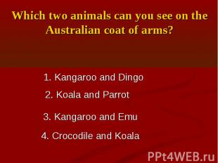 Which two animals can you see on the Australian coat of arms?