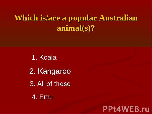 Which is/are a popular Australian animal(s)?