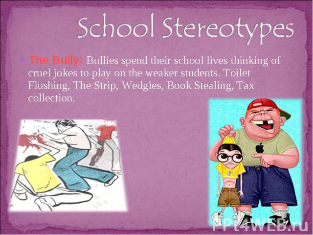 School StereotypesThe Bully: Bullies spend their school lives thinking of cruel jokes to play on the weaker students. Toilet Flushing, The Strip, Wedgies, Book Stealing, Tax collection.