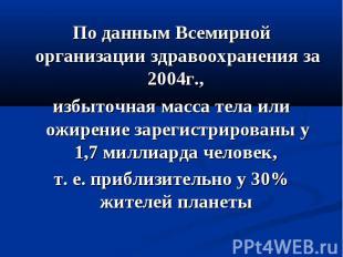 По данным Всемирной организации здравоохранения за 2004г., избыточная масса тела