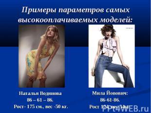 Примеры параметров самых высокооплачиваемых моделей:Наталья Водянова 86 – 61 – 8
