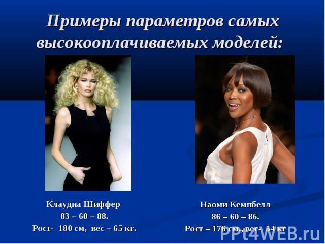 Примеры параметров самых высокооплачиваемых моделей: Клаудиа Шиффер 83 – 60 – 88. Рост- 180 см, вес – 65 кг.Наоми Кемпбелл 86 – 60 – 86. Рост – 176 см., вес- 54 кг