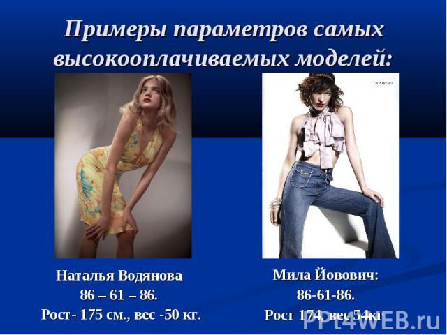 Примеры параметров самых высокооплачиваемых моделей:Наталья Водянова 86 – 61 – 86. Рост- 175 см., вес -50 кг. Мила Йовович: 86-61-86. Рост 174, вес 54кг
