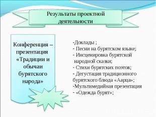 Результаты проектной деятельностиКонференция – презентация «Традиции и обычаи бу