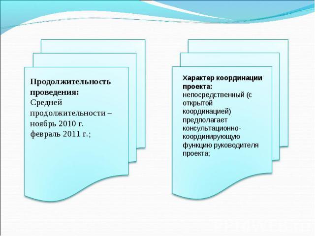 Продолжительность проведения: Средней продолжительности – ноябрь 2010 г.февраль 2011 г.;Характер координации проекта: непосредственный (с открытой координацией) предполагает консультационно- координирующую функцию руководителя проекта;