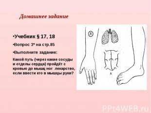 Домашнее заданиеУчебник § 17, 18Вопрос 3* на стр.85Выполните задание:Какой путь