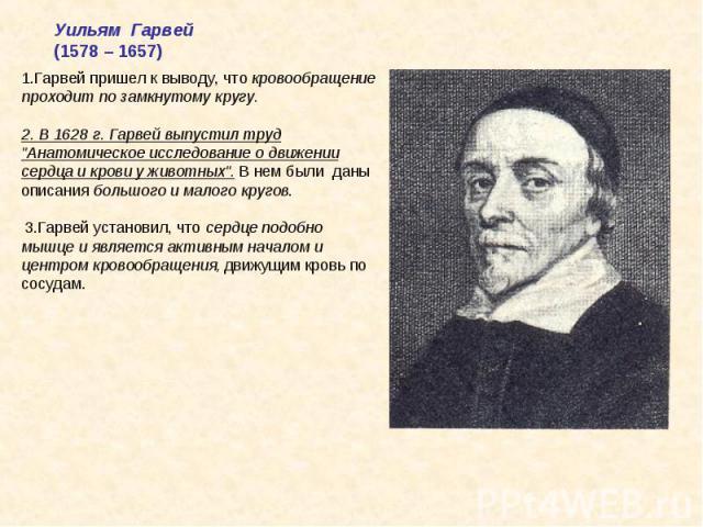 Уильям Гарвей(1578 – 1657)1.Гарвей пришел к выводу, что кровообращение проходит по замкнутому кругу.2. В 1628 г. Гарвей выпустил труд