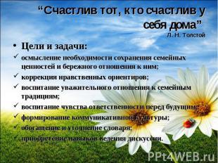 """""""Счастлив тот, кто счастлив у себя дома"""" Л. Н. ТолстойЦели и задачи:осмысление н"""