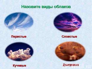 Назовите виды облаков