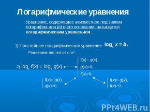 Логарифмические уравнения Уравнение, содержащее неизвестное под знаком логарифма