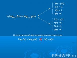 3) logh(x) f(x) = logh(x) g(x)Потеря решений при неравносильных переходахloga f(