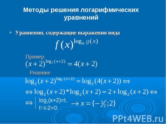 Методы решения логарифмических уравненийУравнения, содержащие выражения вида Пример Решение