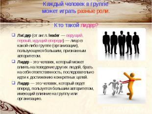 Каждый человек в группе может играть разные роли.Кто такой лидер?Лидер (от англ.