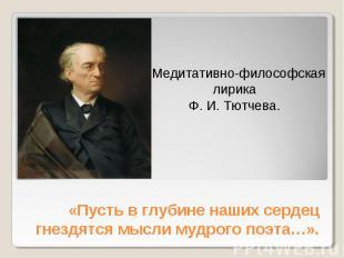 Медитативно-философская лирика Ф. И. Тютчева «Пусть в глубине наших сердец гнезд