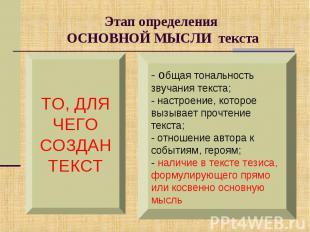 Этап определения ОСНОВНОЙ МЫСЛИ текстаТО, ДЛЯЧЕГОСОЗДАНТЕКСТ- общая тональность
