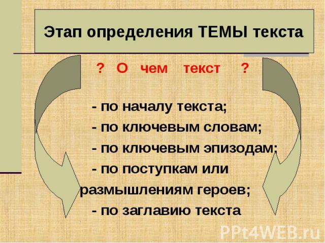 Этап определения ТЕМЫ текста ? О чем текст ? - по началу текста; - по ключевым словам; - по ключевым эпизодам; - по поступкам или размышлениям героев; - по заглавию текста