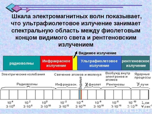Шкала электромагнитных волн показывает, что ультрафиолетовое излучение занимает спектральную область между фиолетовым концом видимого света и рентгеновским излучением