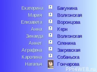 ЕкатеринаМария Елизавета Анна ЗинаидаАннет Аграфена Каролина Наталья БакунинаВол