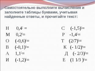 Самостоятельно выполните вычисления и заполните таблицы буквами, учитывая найден