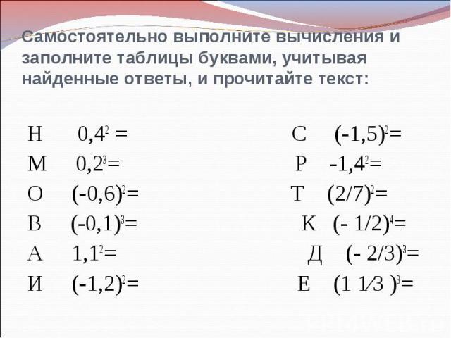Самостоятельно выполните вычисления и заполните таблицы буквами, учитывая найденные ответы, и прочитайте текст:Н 0,42 = С (-1,5)2=М 0,23= Р -1,42=О (-0,6)2= Т (2/7)2=В (-0,1)3= К (- 1/2)4=А 1,12= Д (- 2/3)3=И (-1,2)2= Е (1 1∕3 )3=