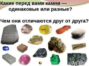 Какие перед вами камни— одинаковые или разные? Чем они отличаются друг отдруга