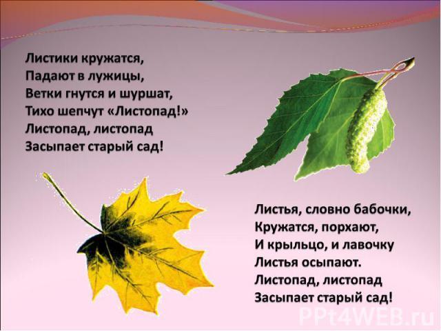 Листики кружатся,Падают в лужицы,Ветки гнутся и шуршат,Тихо шепчут «Листопад!»Листопад, листопадЗасыпает старый сад!Листья, словно бабочки,Кружатся, порхают,И крыльцо, и лавочкуЛистья осыпают.Листопад, листопадЗасыпает старый сад!