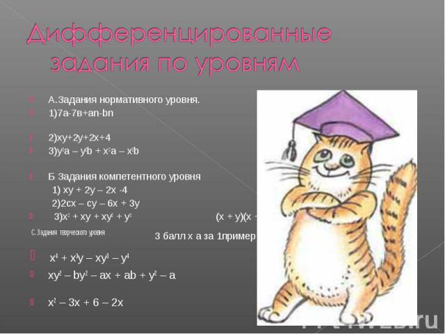 Дифференцированные задания по уровнямА.Задания нормативного уровня. 1балл за 1пример 1)7а-7в+аn-bn (a – b)(7 + n) 2)xy+2y+2x+4 (y + 2)(x + 2)3)y2a – y2b + x2a – x2b (a – b)(y2 + x2 )Б Задания компетентного уровня 2баллa за 1пример 1) xy + 2y – 2x -…