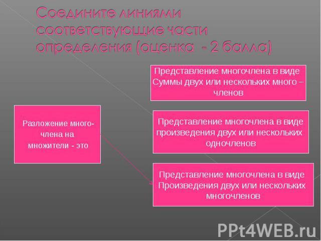 Соедините линиями соответствующие части определения (оценка - 2 балла) Разложение много-члена на множители - этоПредставление многочлена в виде Суммы двух или нескольких много –членовПредставление многочлена в видепроизведения двух или нескольких од…