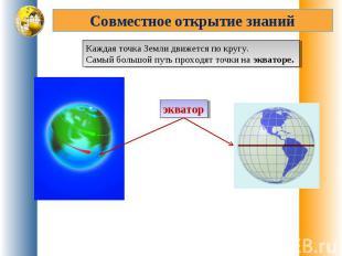 Совместное открытие знанийКаждая точка Земли движется по кругу. Самый большой пу