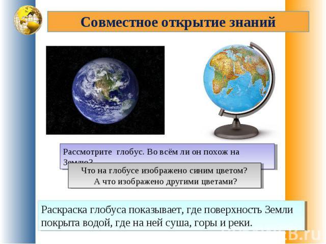 Совместное открытие знанийРассмотрите глобус. Во всём ли он похож на Землю?Что на глобусе изображено синим цветом? А что изображено другими цветами?Раскраска глобуса показывает, где поверхность Земли покрыта водой, где на ней суша, горы и реки.