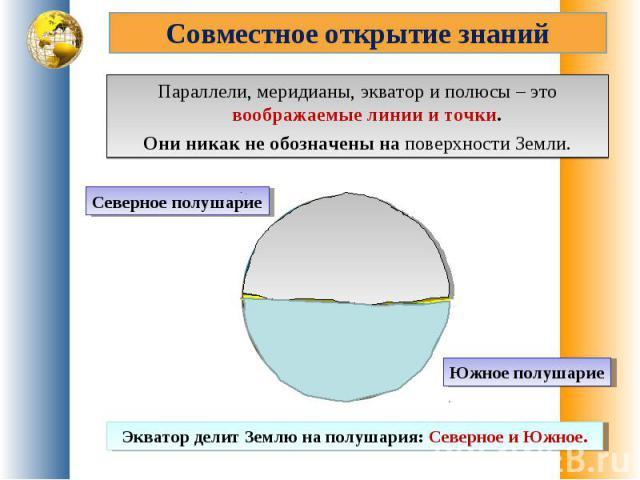 Совместное открытие знанийПараллели, меридианы, экватор и полюсы – это воображаемые линии и точки. Они никак не обозначены на поверхности Земли.